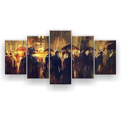 Quadro Decorativo Pintura Multidão Com Guarda-Chuvas 129x61 5pc Sala