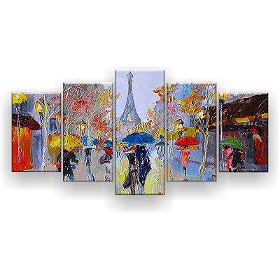 Quadro Decorativo Pintura Casal Guarda-Chuva Paris 129x61 5pc Sala