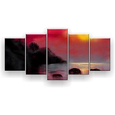 Quadro Decorativo Pintura Pôr Do Sol Na Tailândia 129x61 5pc Sala