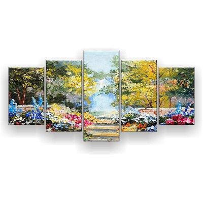 Quadro Decorativo Caminho Verão Colorido 129x61 5pc Sala