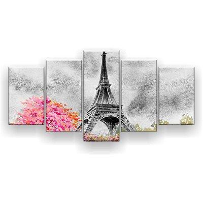 Quadro Decorativo Pintura Torre Eiffel Paris 129x61 5pc Sala