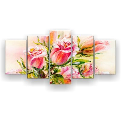 Quadro Decorativo Pintura Rosas Desabrochando 129x61 5pc Sala