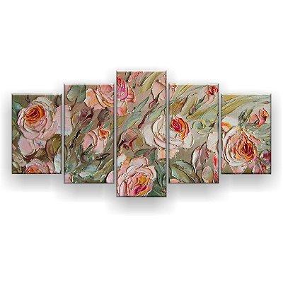 Quadro Decorativo Pintura Rosas 129x61 5pc Sala