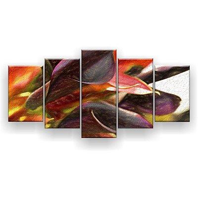 Quadro Decorativo Pintura Lírio De Calla Flor 129x61 5pc Sala