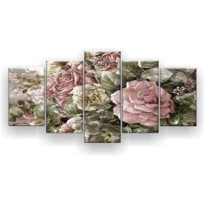 Quadro Decorativo Pintura Rosas Branca E Rosa 129x61 5pc Sala