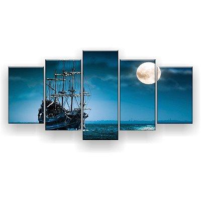 Quadro Decorativo Barco Fantasma Sob O Luar 129x61 5pc Sala