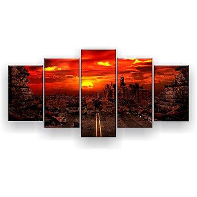 Quadro Decorativo Cidade Destruída 129x61 5pc Sala
