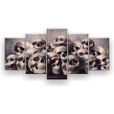 Quadro Decorativo Crânios Empilhados  129x61 5pc Sala