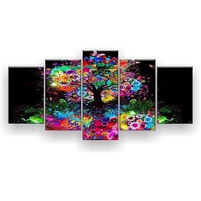 Quadro Decorativo Árvore Multicolorida  129x61 5pc Sala