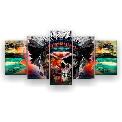 Quadro Decorativo Índio Tigre Metade Crânio  129x61 5pc Sala