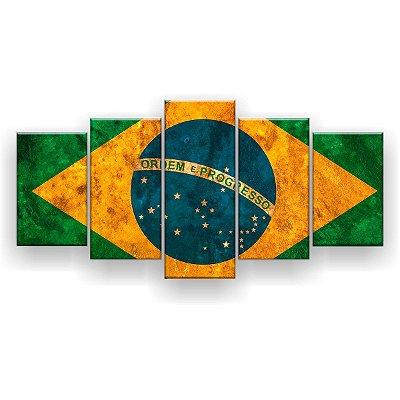 Quadro Decorativo Bandeira Do Brasil  129x61 5pc Sala