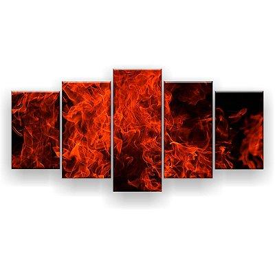 Quadro Decorativo Chamas Vermelhas 129x61 5pc Sala