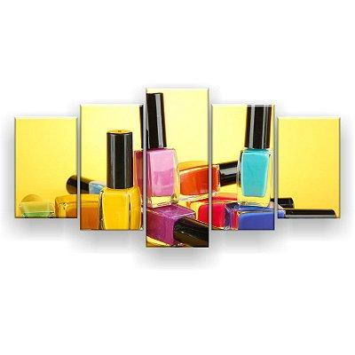 Quadro Decorativo Vidros Esmaltes Fundo Amarelo 129x61 5pc Sala