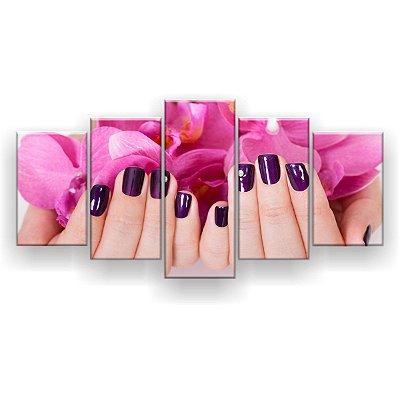 Quadro Decorativo Unhas Roxas Pétalas Rosa 129x61 5pc Sala