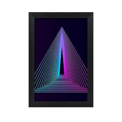 Quadro Decorativo Triângulo Roxo E Azul 33x22 Sala Quarto