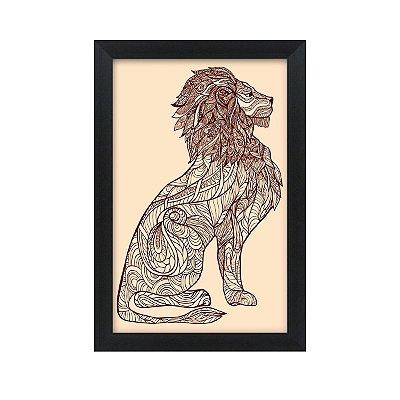 Quadro Decorativo Leão Desenho 33x22 Sala Quarto