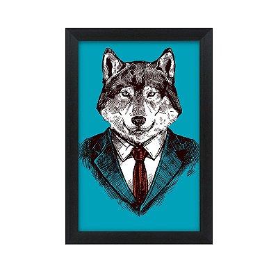 Quadro Decorativo Senhor Lobo 33x22 Sala Quarto