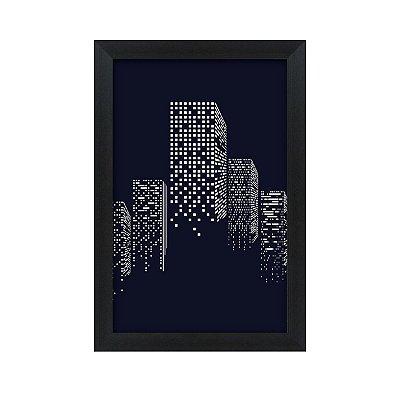 Quadro Decorativo Prédio Luzes Preto Branco 33x22 Sala Quarto