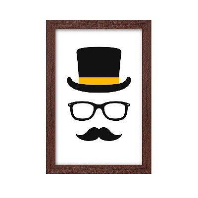 Quadro Decorativo Chapéu Óculos E Bigode 33x22 Sala Quarto