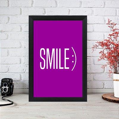 Quadro Decorativo Smile Roxo 33x22 Sala Quarto