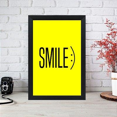 Quadro Decorativo Smile Amarelo 33x22 Sala Quarto