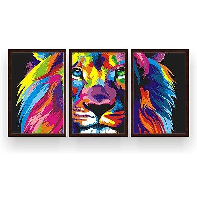 Quadro Decorativo Leão Color Print 3P 124x60 Sala Quarto