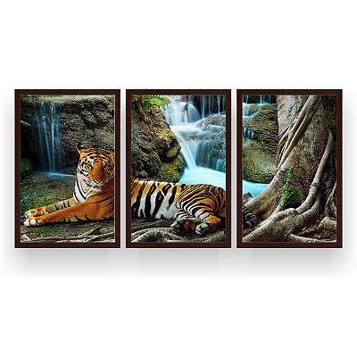 Quadro Decorativo Tigre Cachoeira 3P 124x60 Sala Quarto