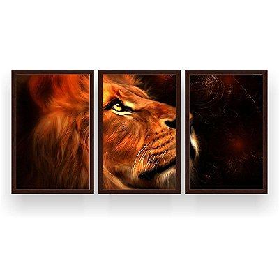 Quadro Decorativo Leão Perfil Fundo Escuro 3P 124x60 Sala Quarto