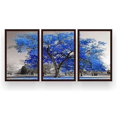 Quadro Decorativo Árvore Grande Azul 3P  124x60 Sala Quarto