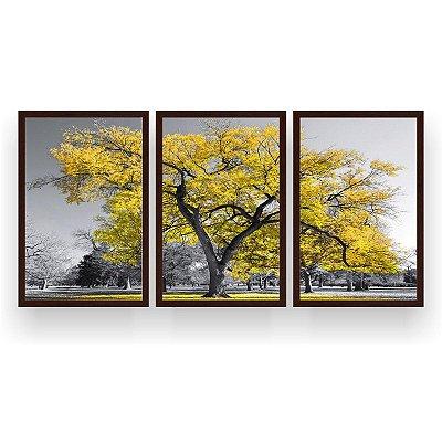 Quadro Decorativo Árvore Grande Amarela 3P  124x60 Sala Quarto