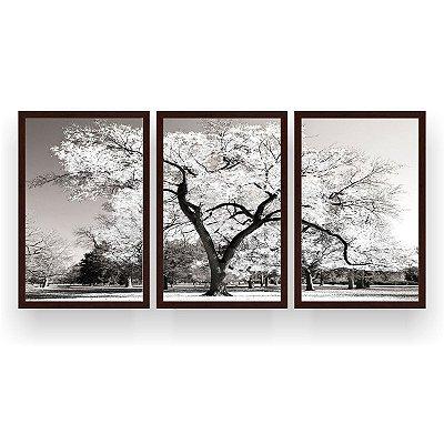 Quadro Decorativo Árvore Grande Branca 3P  124x60 Sala Quarto