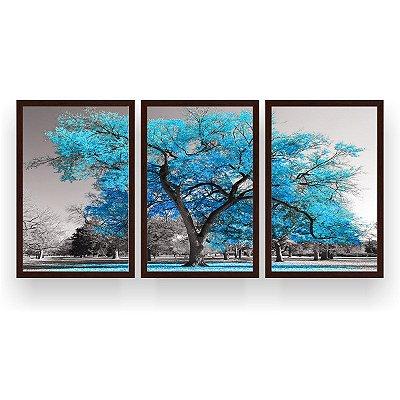 Quadro Decorativo Árvore Grande Turquesa 3P 124x60 Sala Quarto