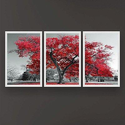 Quadro Decorativo Árvore Grande Vermelha 3P 124x60 Sala Quarto