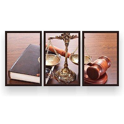 Quadro Decorativo Direito Advocacia 3P 124x60 Sala Quarto