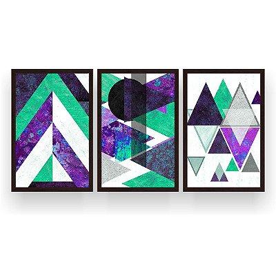 Quadro Decorativo Escandinavos Roxo Verde 3P 124x60 Sala Quarto