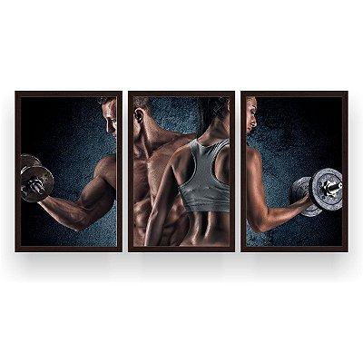 Quadro Decorativo Casal Bíceps Halter 3P 124x60 Sala Quarto