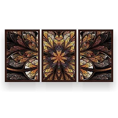 Quadro Decorativo Mandala Flor Marrom 3P 124x60 Sala Quarto