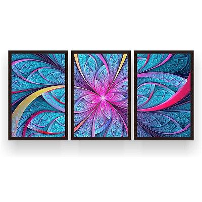 Quadro Decorativo Flor Simétrica Mosaico Ciano 3P 124x60 Sala Quarto
