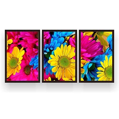 Quadro Decorativo Flores Coloridas 3P 124x60 Sala Quarto