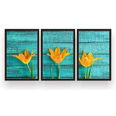 Quadro Decorativo Três Tulipas Amarelas 3P 124x60 Sala Quarto