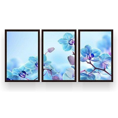 Quadro Decorativo Orquídeas Azuis 3P 124x60 Sala Quarto