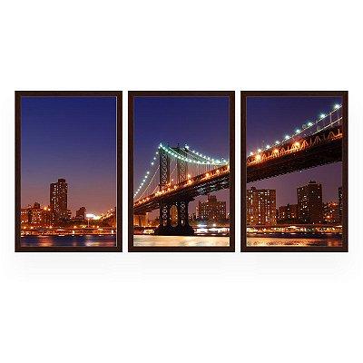 Quadro Decorativo Ponte De Manhattan 3P 124x60 Sala Quarto