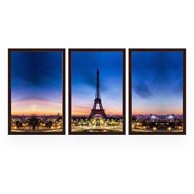 Quadro Decorativo Paris 3P 124x60 Sala Quarto