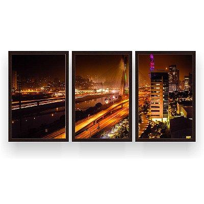 Quadro Decorativo Ponte São Paulo Noturna 3P 124x60 Sala Quarto