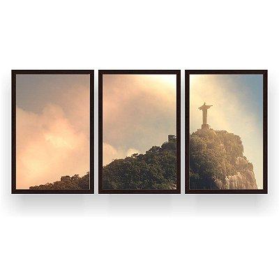 Quadro Decorativo Cristo Redentor Sol 3P 124x60 Sala Quarto