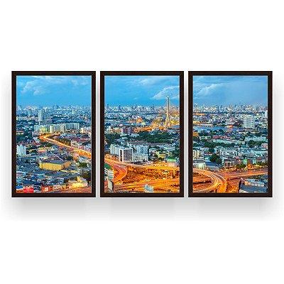 Quadro Decorativo Banguecoque Tailândia 3P 124x60 Sala Quarto