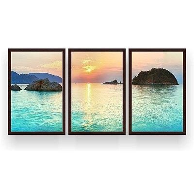 Quadro Decorativo Praia Pôr Do Sol Azul 3P 124x60 Sala Quarto