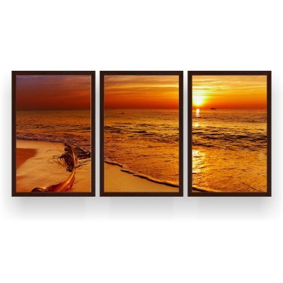 Quadro Decorativo Praia Pôr Do Sol Laranja 3P 124x60 Sala Quarto