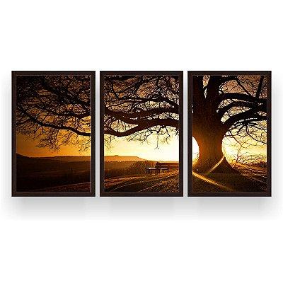 Quadro Decorativo Árvore Grande Nascer Do Sol 3P 124x60 Sala Quarto