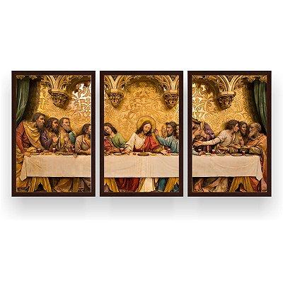 Quadro Decorativo Santa Ceia Gold 3P 124x60 Sala Quarto